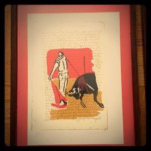 Spanish bullfighting lithograph.💯💯💯 authentic.